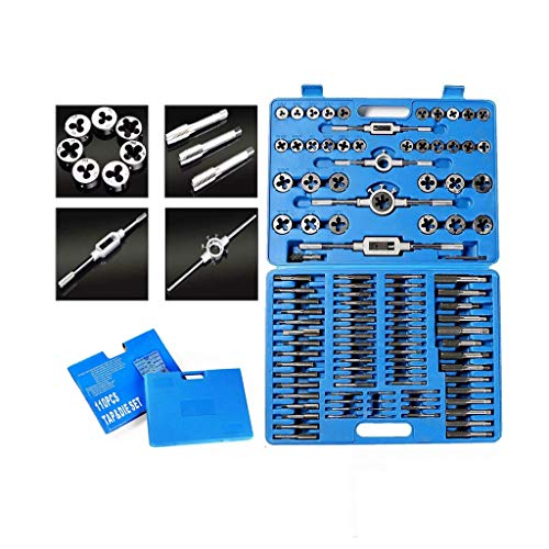 Standard Metric Bearing Steel Tap and Die Rethread Set, 110 Piece Engineers Kit Screw Bolt Cutter for Cutting External and Internal Threads with Storage Case by Mostbest (Blue)