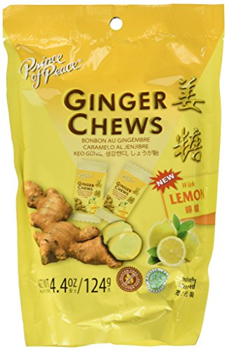5 Packs of Prince of Peace 100 Percent Natural Ginger Candy Chews (Lemon, 4.4 Ounce)