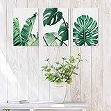 Lienzo Arte de la Pared Pintura de la Hoja Verde Arte Pintura Estilo Moderno Minimalista Decoración de la Pared Colgante Cuadro para Salón Cocina Baño Oficina Decoración