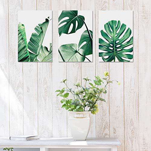 Lienzo de pared pintura de hoja verde arte pintura moderna estilo minimalista decoración de pared para sala de estar, cocina, baño, oficina decoración