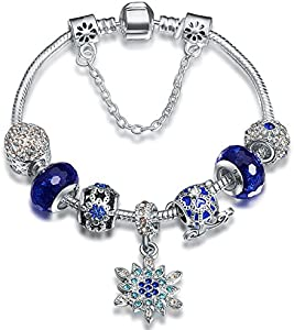 A TE® Charm Pulsera Abalorios Azul Vidrio Murano Flores Cristal Regalo Mujer #JW-B180