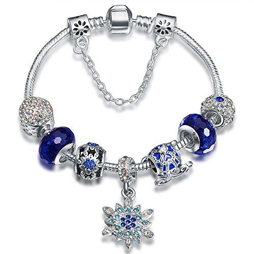 A TE Charm Pulsera Abalorios Azul Vidrio Murano Flores Cristal Regalo Mujer #JW-B180