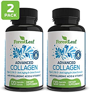 Advanced Collagen Supplement, Type 1, 2 and 3 with Hyaluronic Acid and Vitamin C - Anti Aging Joint Formula - Boosts Hair, Nails and Skin Health - 240 Veggie Capsules - by ForestLeaf