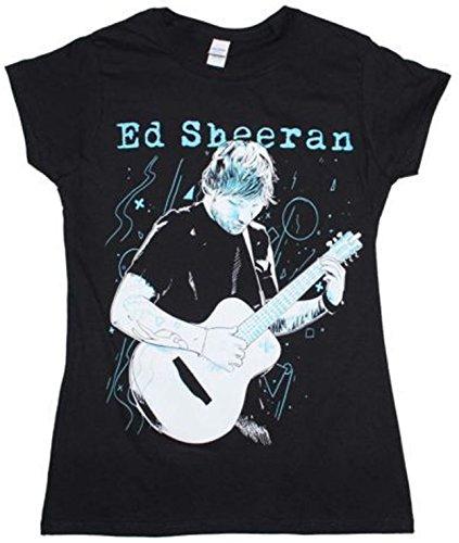 Ed Sheeran - Gitaar Lijnen - Womens zwart katoen Fitted T-shirt