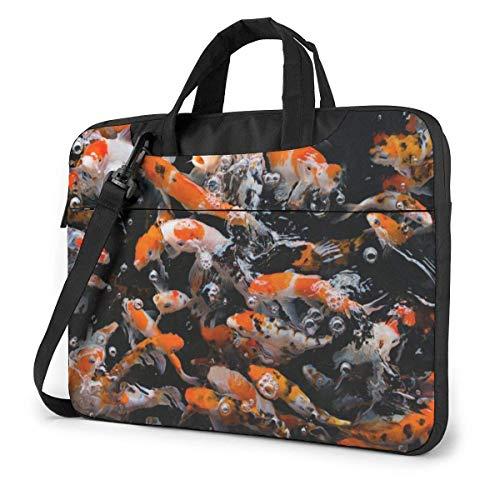 Bolso de Hombro para portátil de 14 Pulgadas Japón Fancy Koi Carp Fish Impreso a Prueba de Golpes Impermeable Laptop Mochila de Hombro Maletín