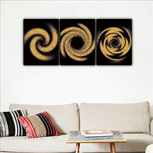 YCCYI Arte Abstracto Espiral de Oro Patrón de Arena Pinturas de Pared modulares Fondo de sofá Decoración de Pared Imágenes Decoración de Sala de Estar 50x70cm (20x28in) x3 Marco Interior