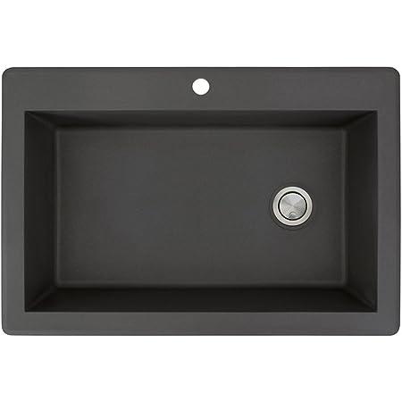 26.8125 x 17.75 x 9 Transolid RTDJ3322-01-CAB Radius Granite 3-Hole Drop-In Double Bowl Kitchen Sink White