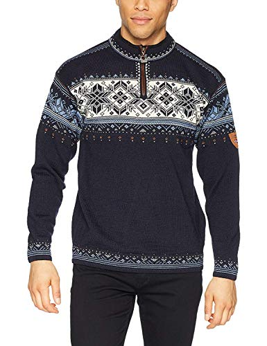Dale of Norway Herren Pullover Blyfjell, Navy/China Blue/Off White/Cooper, XL, 91291-C