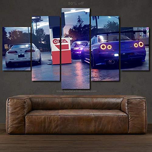 IMXBTQA Cuadro En Lienzo, Imagen Impresión, Pintura Decoración, Cuadro Moderno En Lienzo 5 Piezas XXL,125X60Cm,Reloj De Coche Murales Pared Hogar Decor