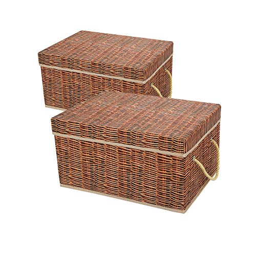 Livememory Decorative Storage Boxes Foldable Storage Bins with Lids and Handles for Office, Bedroom, Closet - Brown Wicker Look (2 Pack)