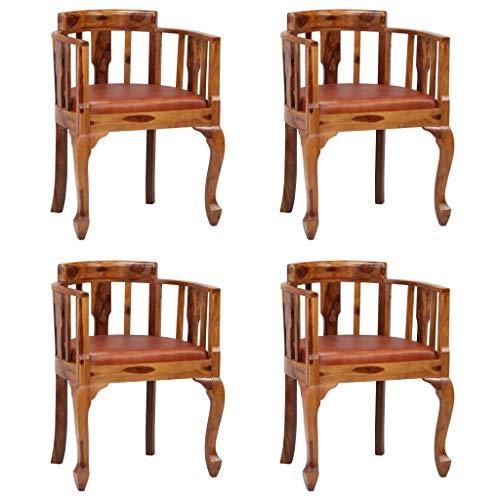 Tidyard Echtleder-Stühlen 4er Set im Retro-Stil,Stühle Esszimmerstühle Mit Rücken Armlehnen aus massivem Sheesham-Holz,Küchenstuhl Esszimmerstuhl Wohnzimmerstuhl Sessel 52 x 50 x 76 cm mit Armlehne