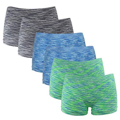 Fabio Farini Damen Panties 6er Pack Hipsters Boxershorts nahtlos, Seamless aus weichem Microfaser-Gewebe 2X Neon Grün/2x Neon Blau/2x Schwarz XS
