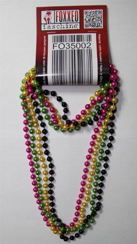 Foxxeo 35002 | 4 Deluxe Perlenketten im trendigen 80er Jahre Look Metallic Perlen Kette Perle gelb grün pink schwarz