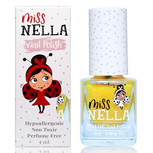Miss Nella HONEY TWINKLES- Spezieller Gelb Nagellack mit Glitzer für Kinder, Peel-Off-Formel, wasserbasiert und geruchsneutral