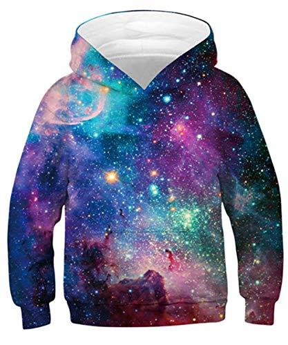 TUONROAD Teen Hoodies Sweatshirt Hipster Pullover Universe Galaxy Kapuzenpullover mit Taschen S