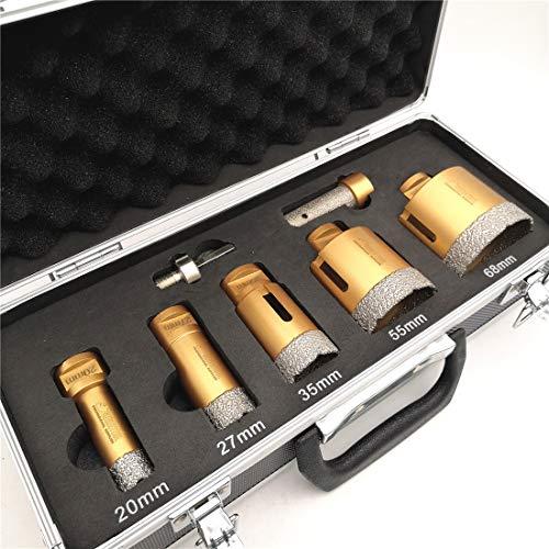 SHDIATOOL Diamant Bohrkrone Set 7-teilig mit Box 20/27/35/55/68mm and ein 20mm Fingerfräser ein Adapter für Porzellan Fliese Granit Marmor Trockenbohren