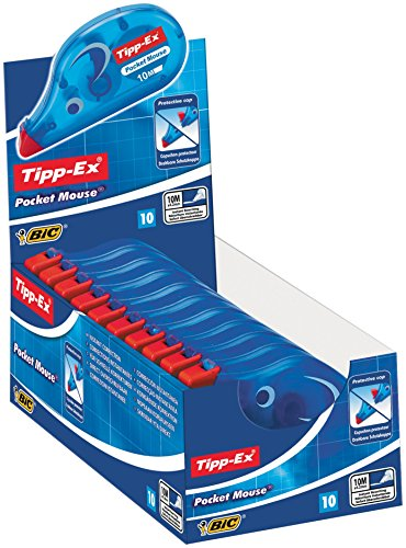 Tipp-Ex Pocket Mouse Korrekturroller mit Bandschutzkappe, 10er Pack, Korrekturband 10m x 4,2mm, Ideal für den Schul- und Bürobedarf