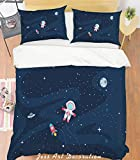3D Cartoon Space Rocket Astronaut Duvet Cover Sets Pillowcases 3 pcs, Bedroom Decor Quilt Cover Sets, Comforter Cover,California King Queen Full Twin Size 1071 LQH (King)