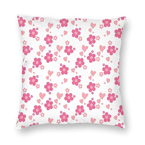 FULIYA Pillow Covers 20x20 Inches Decorations,Patchwork Style Daisies with Big and Little Hearts Romantic Springtime,Throw Pillowcase Holiday Cushion Case for Home Decor