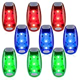 9 Pack Led Safety Light, Safety Light, High Visibility Strobe Running Lights Used For Bicycle, Walking Etc. Clip-On Running Lights Clip To Clothes Strap To Wrist, Bike Or Anywhere(Red/Blue /Green )