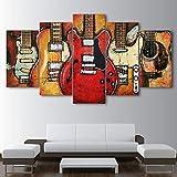 YJJPP Cornice modulare Quadri su Tela Stampe Soggiorno Poster 5 Pannello Strumenti Musicali Chitarra Pittura murale Home Decor Cuadros