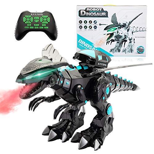 Sandinrayli R/C Robotic Dinosaur w/Mist Spray & Soft Missile, Programmable Electronic Toy- Walk Sing Fight, for Kid 3-10 (Black)