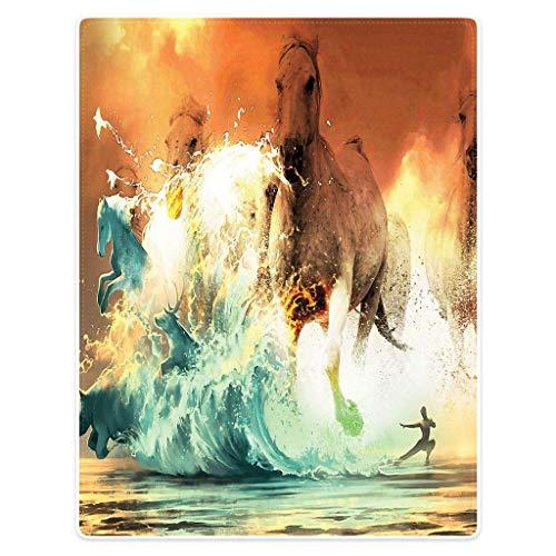 Bernice Winifred Decke Weiche warme Flanell Plüsch Wurfdecken Riesige Welle Meerblick Pferd(60×50