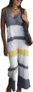 IyMoo Summer Casual Striped Romper Jumpsuit Sexy V Neck Print Sleeveless Tie Dye Tube Romper Wide Leg Pants