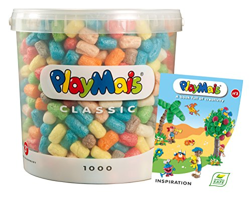 PlayMais 160228 - PlayMais Basic 1000 Eimer mit Buch Inspiration