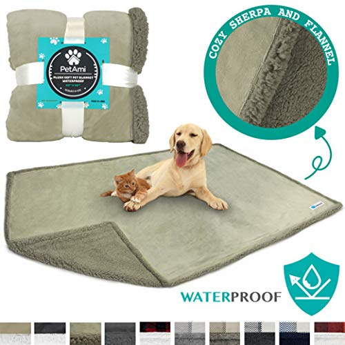 PetAmi Waterproof Dog Blanket for Bed Couch Sofa | Waterproof Dog Bed Cover for Large Dogs| Grey Sherpa Fleece Pet Blanket Furniture Protector | Reversible | Queen 90 x 90 (Taupe/Taupe)