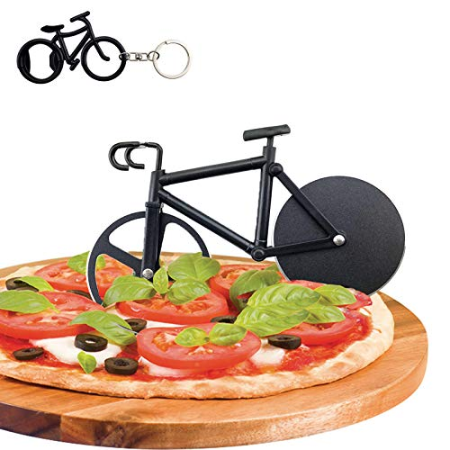 Fahrrad Pizzaschneider, Antihaftbeschichteter Edelstahl Pizza Schneider Lustiger Pizzaroller, Doppel Pizza Cutter mit Scharfem Schneiderad & Ständer für Weihnachten Party Geschenke, Schwarz