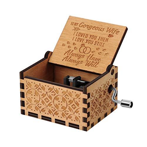 Nnduo You are My Sunshine cajas de música de madera, grabadas con láser, vintage, caja musical de madera, regalos para cumpleaños, Navidad, día de San Valentín, Husband to Wife, 2.55*1.97*1.5 inch