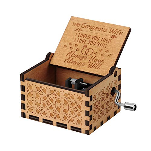 You are My Sunshine Wood Music Boxes,Laser Engraved Vintage Wooden Sunshine Musical Box Gifts for Birthday/Christmas/Valentine's Day (Husband to Wife)