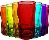 Trinkgläser | farbig | 7 teiliges Set | 460ml | bunt | Glas | 15,5 x 7,5 x 7,5 cm |...