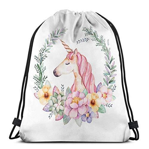 Xinmin Bolsa de Deporte Mochila con cordón Gympack Light Party (Cartoon Unicorn with Flower) Hombres y Mujeres viajan Mochilas de Compras de Fitness