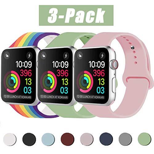INZAKI Kompatibel mit Apple Watch Armband 42mm 44mm, Classic Sport Ersatzband aus weichem Silikon für Armband für iWatch Serie 5/4/3/2/1, Nike +, Sport, Edition, M/L, Sandrosa/Mint/Pride