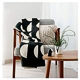 RIEMA Kuscheldecke Joris aus Bio-Baumwolle - stylische Sofadecke in schwarz-beige mit Halbkreisen im Skandi-Style - Oeko-TEX zertifizierte Baumwolldecke für alle 4 Jahreszeiten 150x200cm