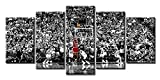 Michael Jordan Poster Wall Art 5 Piece NBA Finals Basketball Room Decor Canvas Printing Posters Black and White Sports Wooden Framed Artwork Picture for Boys Bedroom Home Decorations 50' W x 24' H