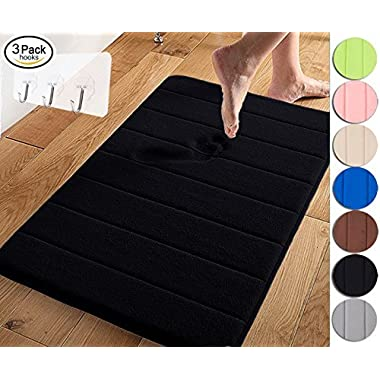 Yimobra Memory Foam Bath Mat Large Size 31.5 by 19.8 Inch,Maximum Absorbent,Soft,Comfortable,Non-Slip,Easier to Dry for Bathroom,Black (Presented Wall Hooks 3 Pack)