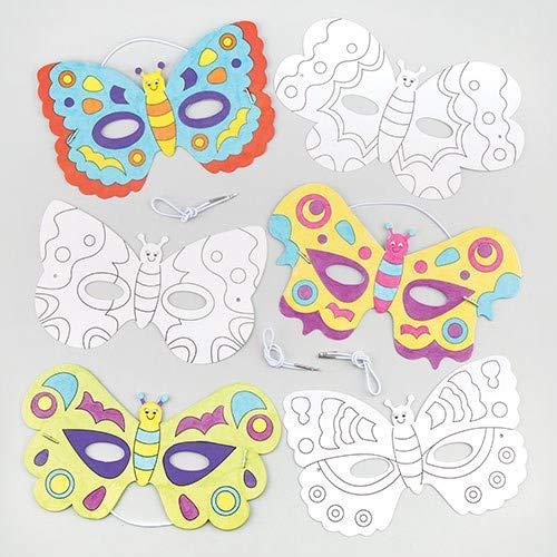 Baker Ross Caretas de Mariposas para Colorear (Paquete de 6) Manualidades para fiestas de disfraces infantiles