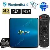 Android TV Box 10.0 Q8 QPLOVE 【4GB+128GB】 con Mini Teclado Touchpad RK3318 Quad-Core 64bit 4K Ultra HD Smart TV Box Soporte Dual WiFi 2.4G/5GHz 100M LAN H.265 3D Bluetooth 4.0 Set Top Box