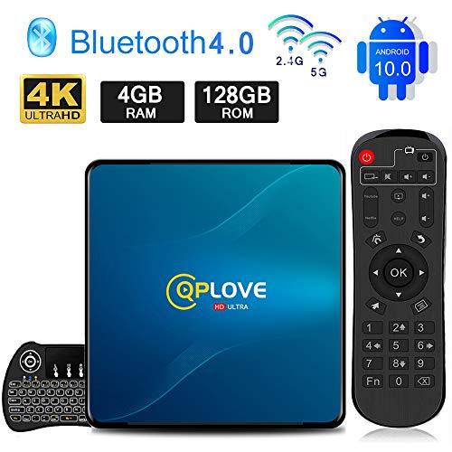 petit un compact Android TV Box 10.0, QPLOVE Q8 (4 Go + 128 Go), Mini clavier Touchpad RK3318 Quad Core 64 bits 4K…