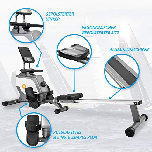 Merax BTM Magnetic Rowing Machine Folding Rowing Machine with Magnetic Clamping System, LED Monitor, 4kg Flyweight and 8 Levels Resistance Adjustment for Home Gym