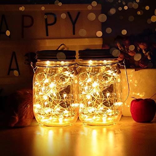 Solarlampen Außen 2er | infinitoo led solar licht |Solarglas 2M 40er led Kupferdraht leuchten Außen Garten Laterne Solarleucht Wasserdichte Garten Hängeleuchten Gartendeko für Party, Hochzeit