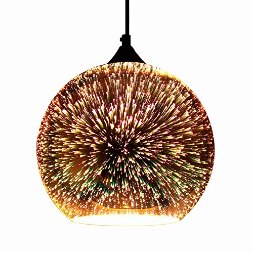 JEUNEU Modern 3D Colourfull Glass Pendant Light Firework Lamp Kitchen Decor Lighting Fixture ((9.84...