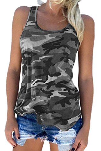 Damen Sommer Bluse Ärmellose Tank Top Shirt Casual Weste Hemdbluse Camouflage T Shirt Grey M