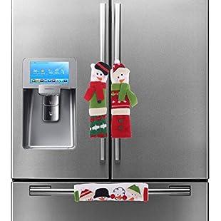 iiniim 3PCS Christmas Snowman Refrigerator Door Handle Cover Protectors Kitchen Microwave Dishwasher Handle Decorations:Kisaran