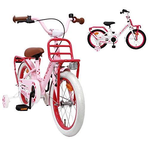 AMIGO Sweetheart - Kinderfiets - 16 Inch - Meisjes - Met trainingswielen en achtbaan rem - Roze