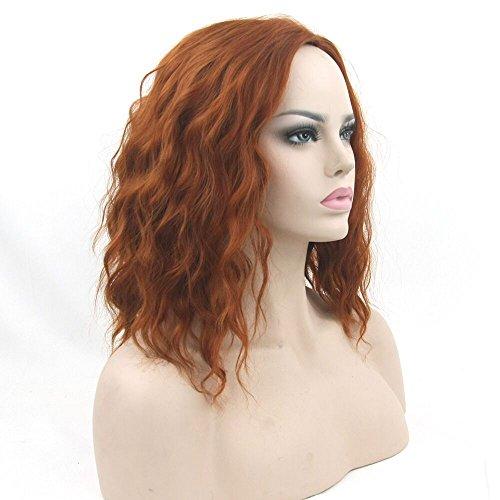 Fouriding Femme Perruque Orange Brésilien Costume Perruques Bouclés Cheveux Courte Ondulees Cos Wig Orange