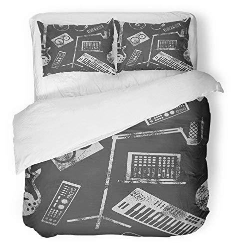 LnimioAOX 3-teiliges Bettwäscheset aus gebürstetem Mikrofasergewebe Audio Musikproduktion Musiklautsprecher Laptop-Headsets Mikrofonverstärker Plattenbettwäscheset mit 2T